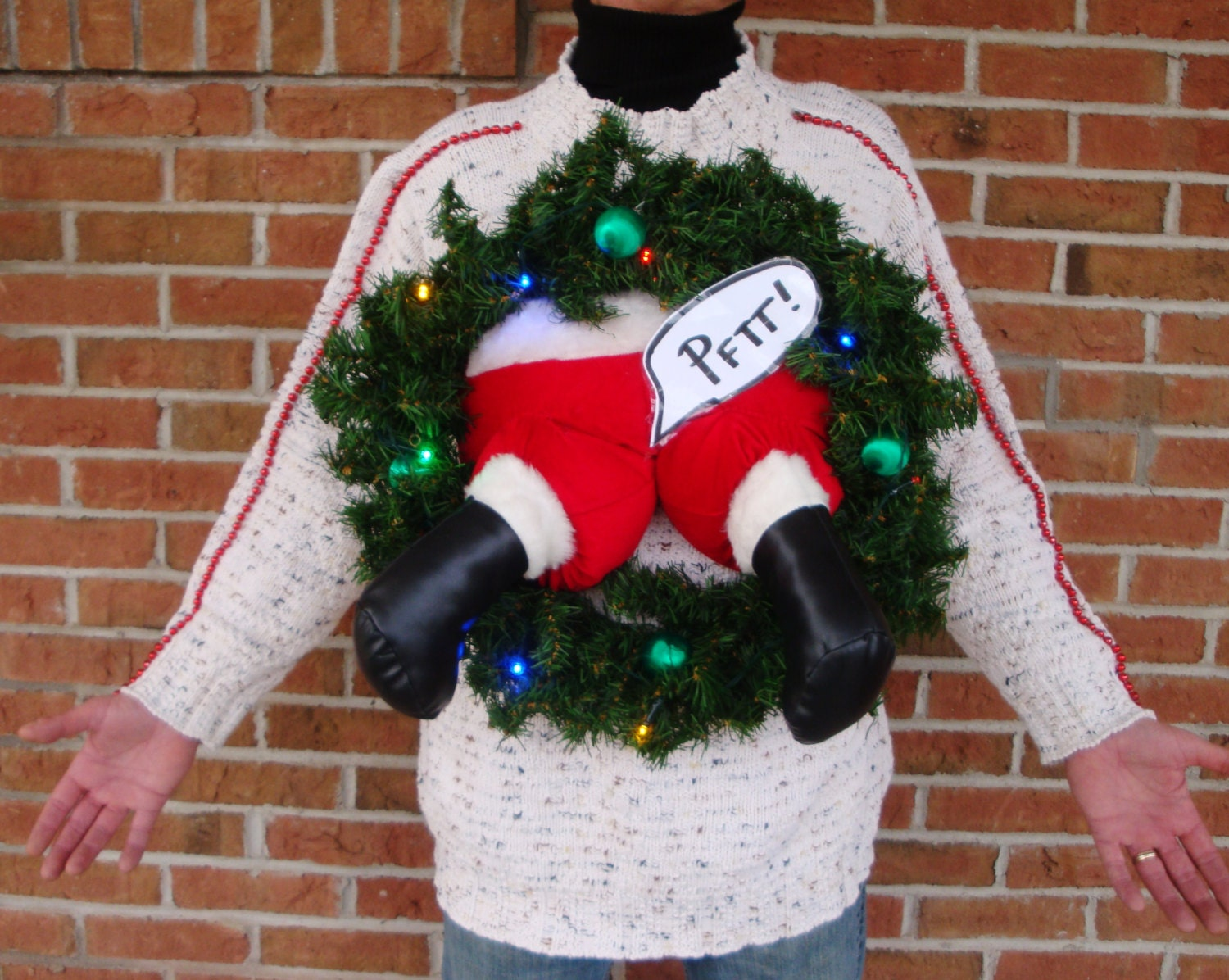 Plus Size Ugly Christmas Sweater Light Up Farting Santa Wreath