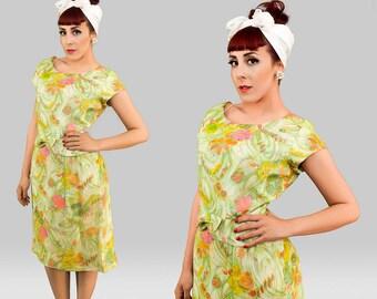 Vintage 1960s Dress /  1960s Sheath Dress  / Vintage 60s Floral Dress / Vintage Garden Party Dress