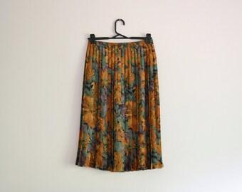 Mustard / Green Midi Skirt - 80s, pleated, leaves, purple, medium - large
