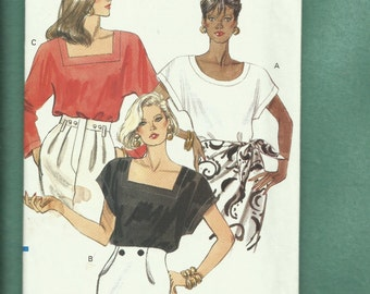 1990 Vogue 7783 Deep Dolman Sleeve Tee Tops with Square & Scoop Necklines Sizes 14.16.18 UNCUT