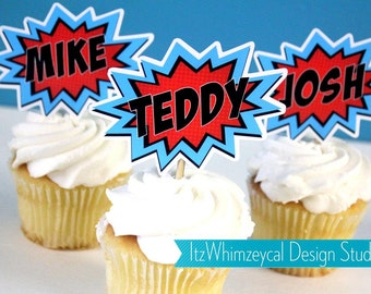 Personalized Popart Superhero Die Cut Cupcake Topper (One Dozen)