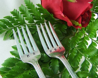 WEDDING Cake Forks, MR MRS, Wedding Forks Personalized, Vintage Silver Plated, Memory Rogers, 1937, Wedding Ready to Ship Gift Under 20