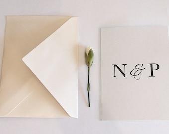 Personalised wedding card, personalised engagement card, custom initials, elegant white wedding card, custom card, engagement card, envelope