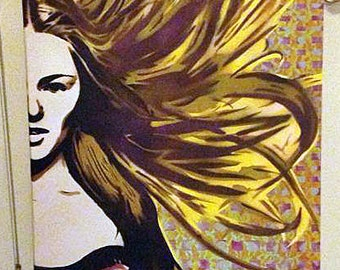 LARGE Spray Paint stencil art on canvas - Model with flowing hair with detailed background