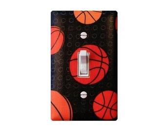 Basketball Light Switch Plate Cover / Orange and Black / Boys Room Playroom / Baby Boy Nursery Decor / Slightly Smitten Kitten