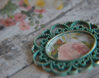 Shabby Chic Dollhouse Miniature Flower Picture