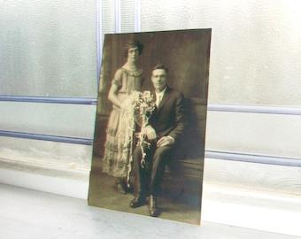 Edwardian Couple Wedding Portrait Vintage Photograph