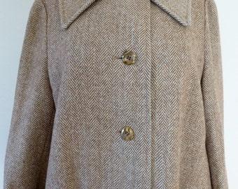 70's Diane Von Furstenberg Coat Bonwit Teller Herringbone Tweed DVF Wool Overcoat L XL