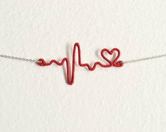 Red Heart Necklace, Valentines Gift, Heartbeat Necklace Jewelry, Heart Beat EKG Necklace, Nurse Doctor Graduation Gift
