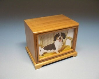 90 c. i. Cherry with a Walnut Inlay Pet Photo Urn  with Lacquer Finish