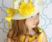 Tea Party Hat - Easter Hat - Easter Bonnet - Child's YELLOW Bonnet - Girls Sun Hat - Girls Cloche - Yellow Tea Party Hat -Flower Girl Hat
