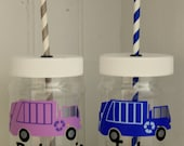 Personalized Plastic Mason Jar Cups - Garbage Truck - Waste Management