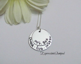 TEACHER  NECKLACE - Personalized Name Jewelry -  Gifts for teachers - Gift Box included-Teach Love Inspire- Sterling Silver
