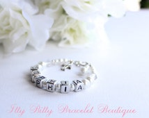 Personalized Baptism Gift, Pearl Name Bracelet & Cross with Letter Blocks Christening, Dedication New Baby-- FREE Gift Packaging