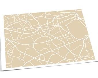 Arlington, VA City Map Art Print / DC Virginia Wall Art Digital Print / 8x10 / Personalized colors