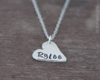 Heart Name Necklace - Silver Heart Pendant Necklace - Name on Heart Charm