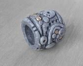Sculpted Dreadlock Bead - Polymer Clay Dread Bead - Earthy Dread Bead - Stone Look Carved with Brass Inlay