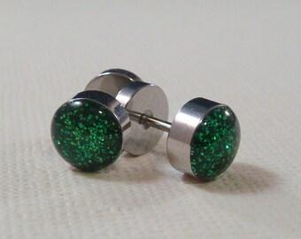 Glitter Green Fake Ear Plugs / fake gauges / fake plugs / fakers / green ear plugs / rhinestone plugs