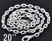 """Silver Chain Necklaces - 7x4mm - Flat Link with Lobster Clasp 20"""" - 3pcs - Ships IMMMEDIATELY  from California - CH123"""