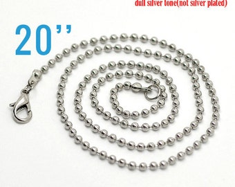 "100 Necklaces 2.4mm Ball Chain Antique Silver - 20"" - WHOLESALE - Ships IMMEDIATELY from California - CH255d"