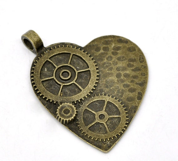 2 Steampunk Heart Gear Charms Antique Bronze - 50x48mm - 2pcs - Ships IMMEDITAELY  from California - BC02