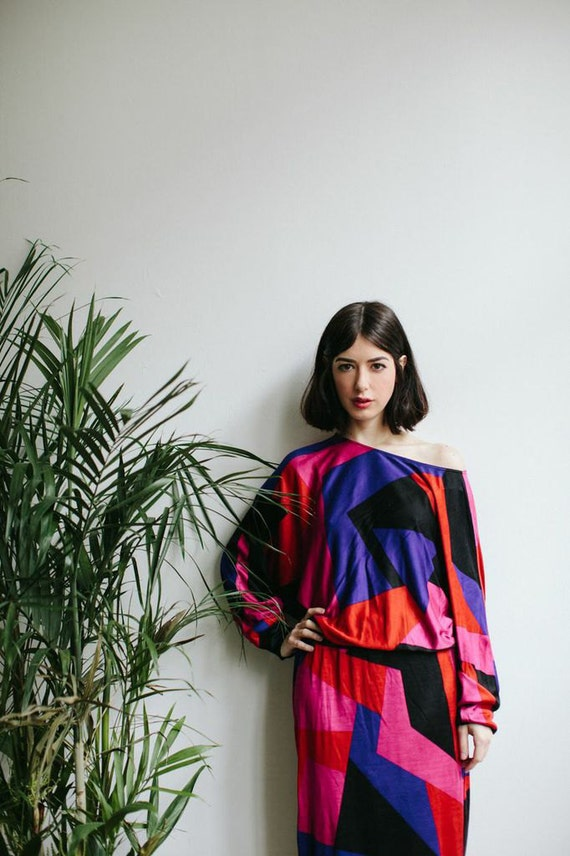 RESERVED for Paola – 80s Color Block Dress | Flora Kung