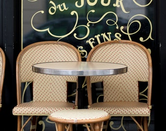 Paris Cafe Photography - Tarte du Jour, Cafe Chairs and Table, Large Wall Art, Paris Home Decor, French Kitchen Wall Art