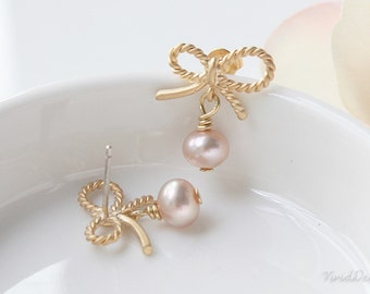 Sweet Bow Pearl Earrings, Pink Pearl Jewelry, Wedding Jewelry, Bridemaids Gifts, October Birthstone Jewelry