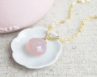 Pink Chalcedony Necklace, Dainty Gemstone Necklace, Rose Pink Chalcedony, Pink Weddings, Pink Bridesmaids Jewelry
