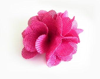 1 Pc - Magenta Burlap Flower - 3 inch Folded Flower
