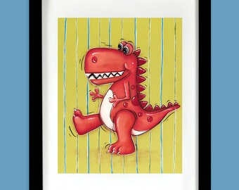 Dinosaur Wall Art ~ Red Dinosaur ~ Tyrannosaurus Rex ~ Boys Wall Art ~ Dinosaur Decor ~ Kids Wall Art  ~ Playroom Wall Art Print