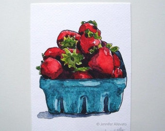 CLEARANCE Strawberry art print 5x7 kitchen watercolor