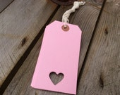 Set of pink heart tags - large pale pink tag 120 x 60mm - luggage label - postage tag - mailing tag - pink label - gift tags etsy uk