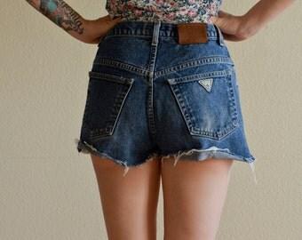 1990s SML/MED GUESS brand high waist cut off denim shorts