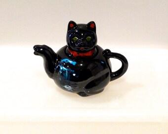 Shafford Black Cat Teapot Vintage Niagara Falls Cat Teapot Redware Japan Red Clay 1950s Halloween Travel Souvenir Lucky Cat Maneki Neko Cute