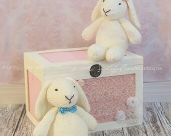 Woodland Bunny knit plush bunny in cream