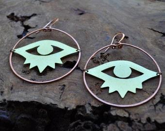 Evil Eye Talisman Hoop Earrings