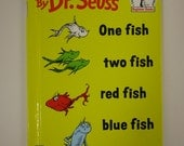 """Vintage Dr. Seuss """"One Fish Two Fish Red Fish Blue Fish"""" Chidren's Beginner Book"""