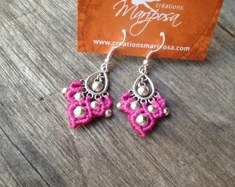 Micro macramé small gypsy earrings boho jewelry by Creations Mariposa