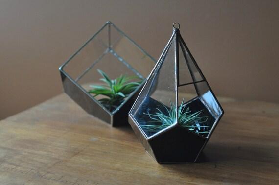 Magus Teardrop Terrarium, teardrop glass terrarium with dodecahedron base in copper or silver color -- hanging terrarium -- eco friendly