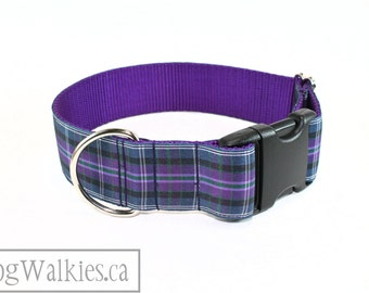 "Pride of Bannockburn Tartan Dog Collar / 1.5"" Wide(38mm) / Purple Plaid / Choice of style and size - Martingale Dog Collars or Quick Release"