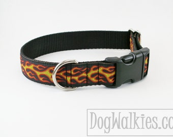 "Hot Dogs on Fire Dog Collar // 1"" (25mm) wide // Martingale or Quick Release Buckle // Choice of collar style and size // Flames // Black"