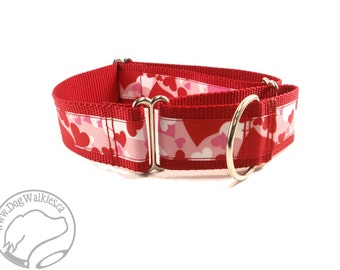 "Heart Camo Valentine Dog Collar - 1.5"" (38mm) Wide - Choice of collar style and size - Wide Martingale Dog Collars or Quick Release Buckle"