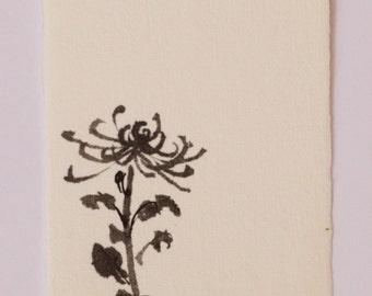 Ink drawing, Chrysanthemum, flower drawing, Mini art, Japanese drawing, Gift Under 50, mini drawing, flower art, black drawing,Reina