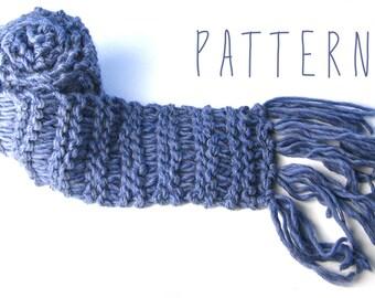 PATTERN - CHUNKY MONKEY Scarf - Extra long, chunky-knit, fringed winter scarf