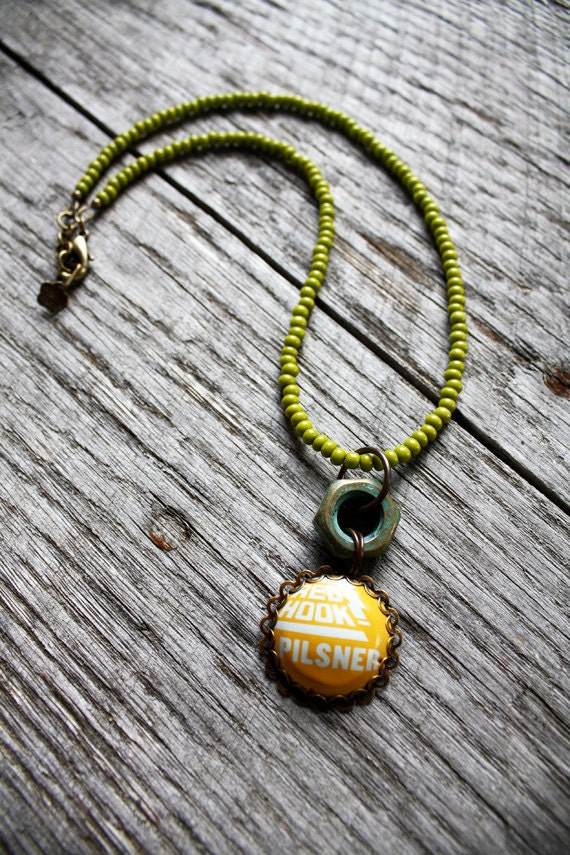 Red hook necklace beer bottle cap jewelry handmade recycled for Beer cap jewelry
