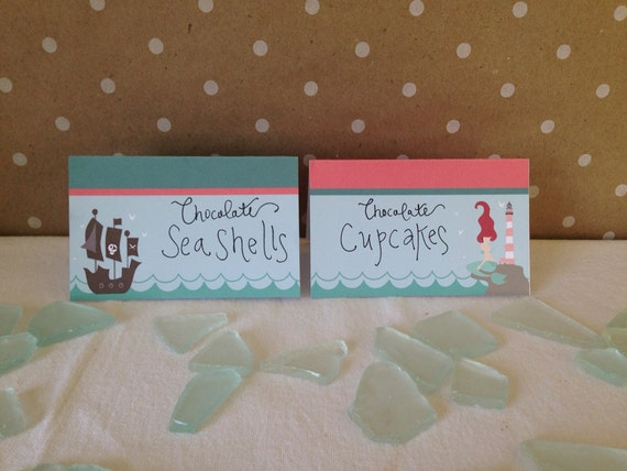 Mermaid & Pirate Menu Labels  - Pool or Beach Party Digital files - Party Supplies - INSTANT DOWNLOAD
