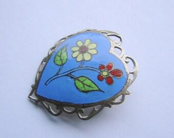 Vintage Siam Sterling Blue Enamel Niello Brooch  / Heart Motif / Floral / Jewellery / Jewelry / Jewellery