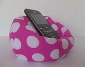 Cell phone bean bag chair hot pink with white polka dots