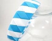Turquoise and White Striped Headband - Turquoise Headband - White Headband - Blue Headband - Ribbon Woven Headband - Braided Headband